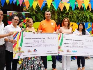 César Soto de Pintuco, Fernando Restrepo de Homecenter, la reina, Juan Ruiz ganador, Angie Choperena Triple A y Olga Martínez de Brasilia.