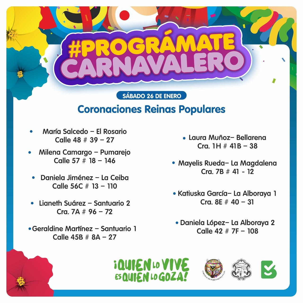 Fin de semana carnavalero con coronaciones de Reinas Populares e izadas de bandera