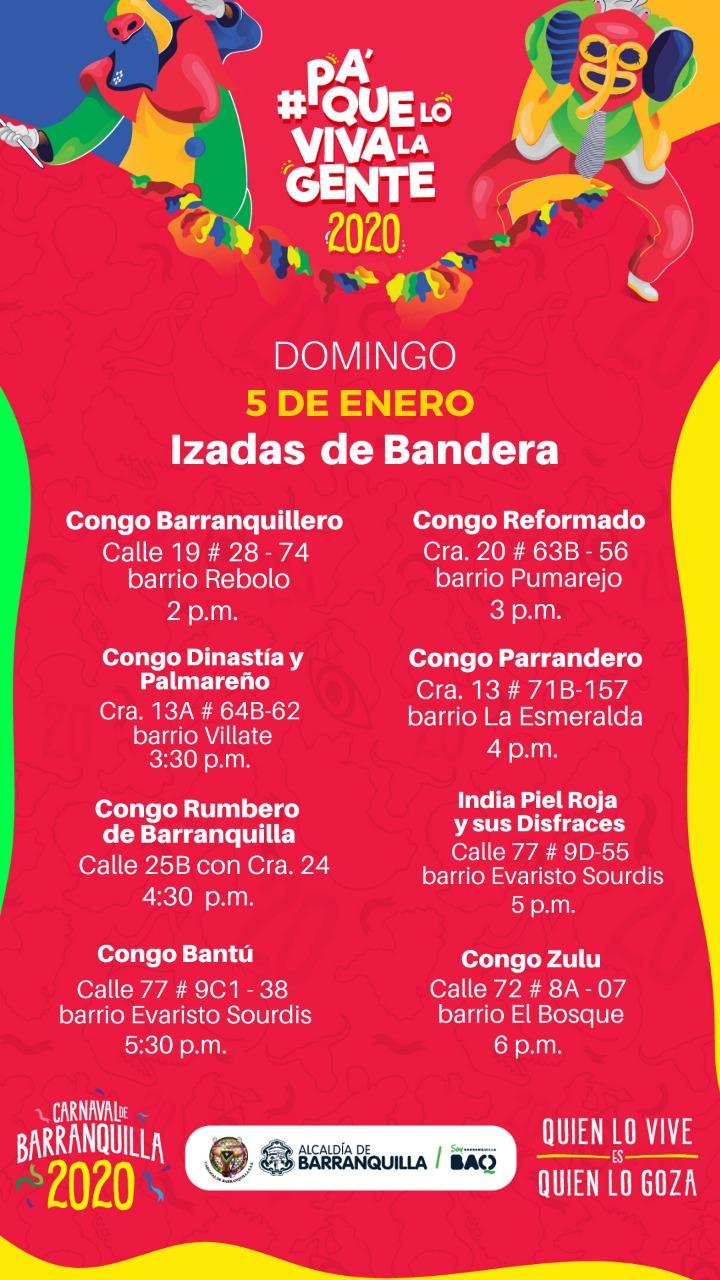 Con izadas de bandera de Danzas de Congo arranca el Carnaval 2020