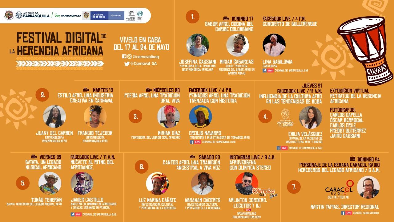 Festival Digital de la Herencia Africana en redes de Carnaval de Barranquilla