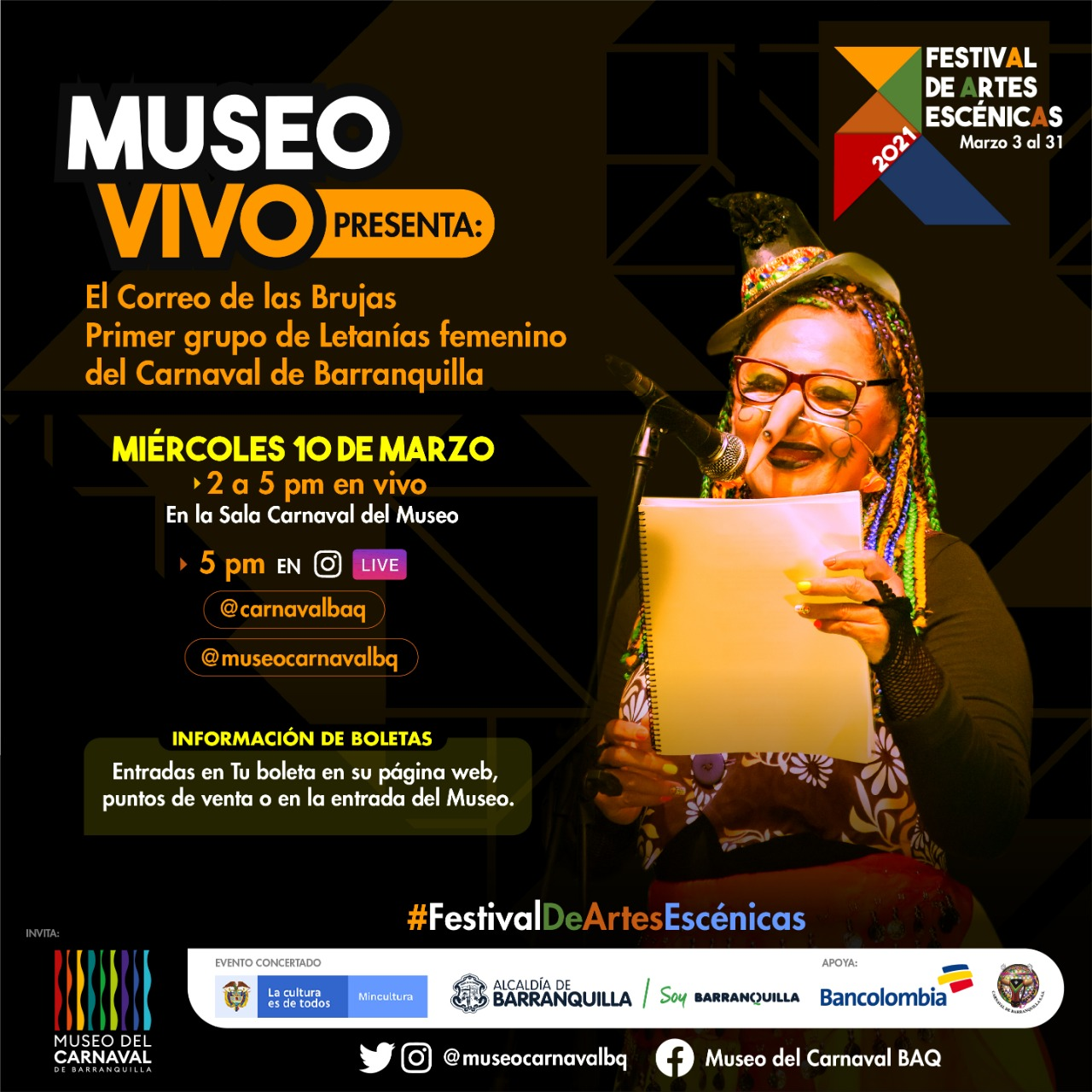 ¡Todos al Museo del Carnaval de Barranquilla! Continúa el Festival de Artes Escénicas con Museo en Vivo, Nocturno y Kids